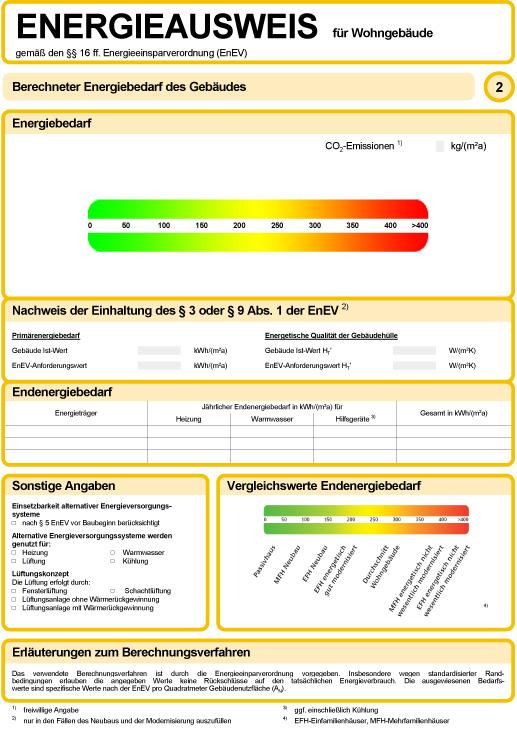 Als Energieberater erläutere ich Ihnen den Energieausweis für Wohngebäude gemäß den §§ 16 ff. Energieeinsparverordnung (EnEV)