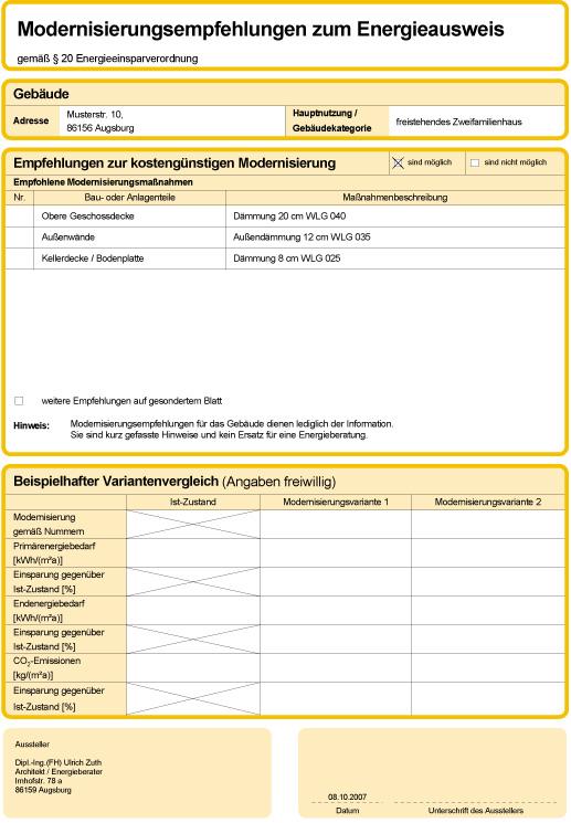 Der Energieberater empfiehlt: Modernisierungsempfehlungen zum Energieausweis gemäß § 20 Energieeinsparverordnung