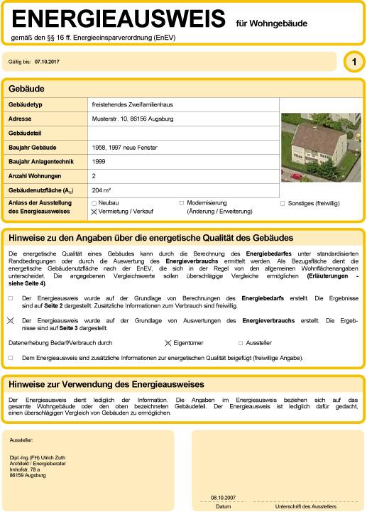 Energieberater gesucht? Energieausweis für Wohngebäude gemäß den §§ 16 ff. Energeieinsparverordnung (EnEV)